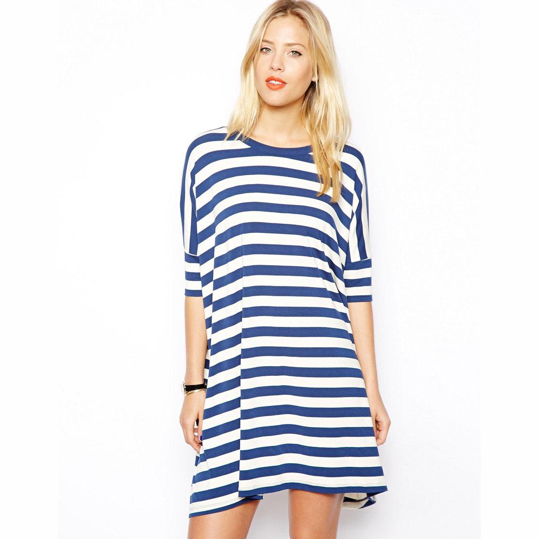 Blue Navy Wide Stripe 2014 Women Fashion Denim Sailor O-Neck Casual Striped Jeans Ladies Dress(China (Mainland))
