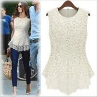 HOTSALE!!!2014 Fashion Casual Women Lined 100% Cotton Lace Sleeveless Dresses White Black Sexy Vest Blouse Free Shipping