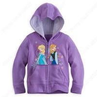 Wholesale 2014 New Hot Sale Frozen Anna And Elsa Girls Hoodie Fashion Children Coat Purple Girls Outwear Children Clothes