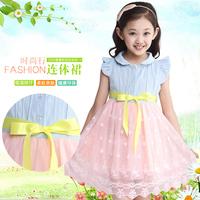 Girls summer 2014 new short-sleeved dress children princess tutu dress denim veil for kids'Growth 110-170CM