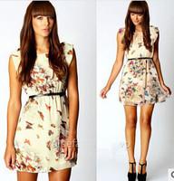 Fashion high quality women's new summer dress butterfly printing chiffon dress with belt free shipping