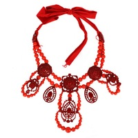 G1107 NEW HOT SALE trendy Fashion red resin beads rope chain pendant Necklace & pendant nickel free