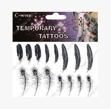 novo fêmea impermeável pena de pavão tatuagem adesivos 20pcs/lot frete grátis(China (Mainland))