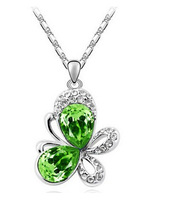 Charms Jewelry Exquisite Imitation Embedded Butterfly Pendant Necklace 925 Silver Plated JA5171
