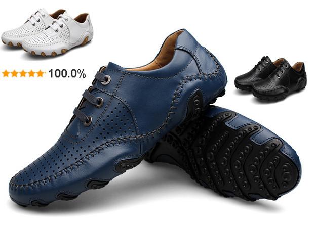Herrensandalen aus echtem leder-sneaker fahren schuhe krake echte leder atmungsaktiv Wohnungen männer sommerschuhe, sneakers für männer,
