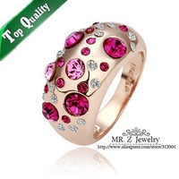 Factory Price 18K Gold Plated Wedding Rhinestone Charm Rings For Women Jewelry Free Shipping