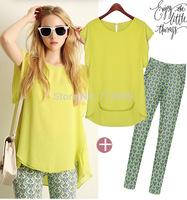 The new 2014 summer flounced chiffon shirt  + printing Slim pencil pants suit Free shipping  4831