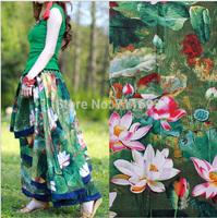 Drop Shipping/Free Shipping 100*147cm 2014 new fasioin Lotus garden style Printed cottom linen fabiric DIY ladies dress fabric
