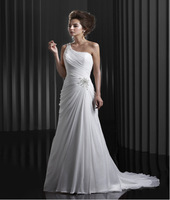 Hot New Sexy Sweetheart Off the Shoulder Hand Made Beaded Chiffon Court Train Free Shipping Party Evevning Dress 2014