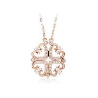 Charms Jewelry Love Heart Shaped  Imitation Diamond Necklace Rose Gold Plated JA5272