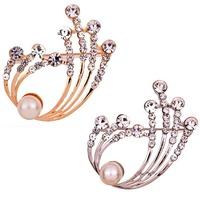 2014 Hot Fashion  Women  pearls Flower Brooch Jewelry Shape Rhinestone Inlay Brooch Pin Party