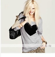 2014 Spring European and American fashion loose long-sleeved round neck T-shirt love big yards T-shirt Free Shipping