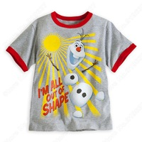 Wholesale New Frozens Olaf  Snowman T-hirsh Kids Clothing O-Neck summer short sleeve  kids clothes