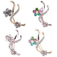 2014 Hot Sliver Plated Alloy Flower Design  Popular Rhinestone Inlay Brooch Pin Gift
