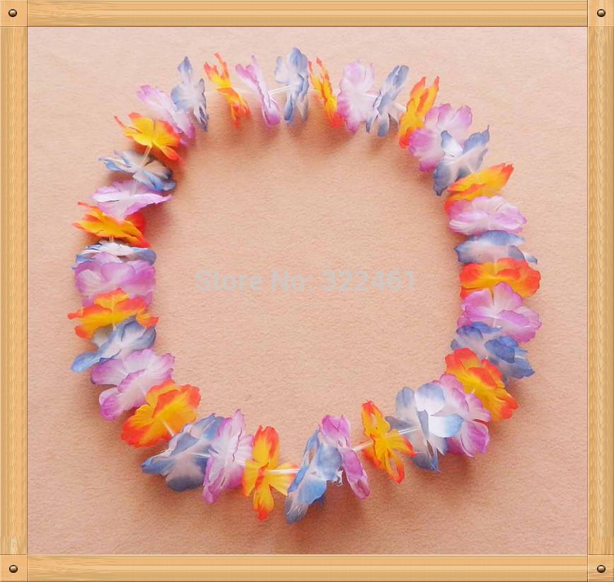 45 pçs/lote partido grátis frete & festiva suprimentos Multicolor partido havaiano decoração havaiano do arco-íris flor lei havaii colar(China (Mainland))
