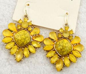 Продвижение персонализированные желтый цветок камень кристалл женская мода элегантных женщин серьги E2460