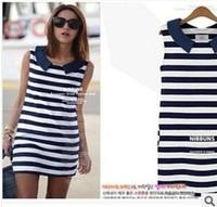 Clothing2014  Women Fashion Denim Sailor Collar Sleeveless Casual Striped Jeans Dress Ladies Free Shipping