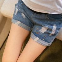 805 Maternity Pants Maternity Jeans Side Zipper Denim Pregnant Shorts for Pregnancy Women's Wear 2014 New Summer Plus Size M-2XL