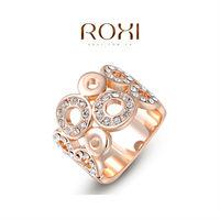 ROXI fashion rose gold plated polycyclic ring ,set with AAA zircon cystal,fashion wedding Jewelry,gift ,2010017420b