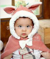 2014 new arrival bonnets sweet warm cloak winter baby rabbit shawls hooded cloak, children hats caps hat bone outdoor kid beanie