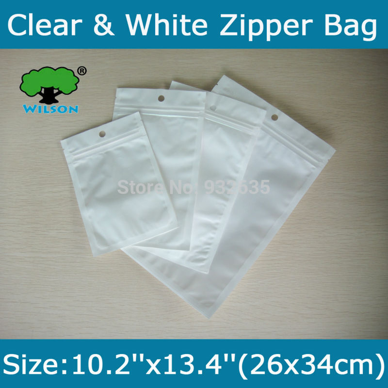 Free Shipping 100 pcs 10.2''x13.4''(26x34cm) One Side White Clear Zip lock bag  Wholesale White/Clear electronic packaging(China (Mainland))