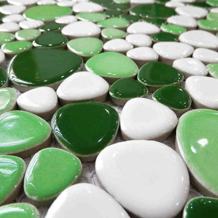 Groene Keuken Tegels : Ceramic Mosaic Tiles Blue Green Mixed Color Pebble