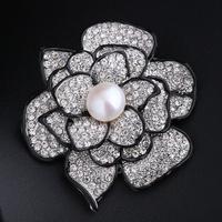 Natural freshwater pearl brooch Pins CZ Rhinestone camellia Fine Elegant jewelry Birthstone Gift enamel