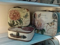 Vintage rustic colored drawing suitcase piece set bags travel bag cosmetic box luggage storage box