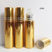 Free shipping - 24/lot 10ml UV Gold Glass Roll On Bottle,1/3OZ Glass Roll On Perfume Bottle, 10CC Roll-on Bottle