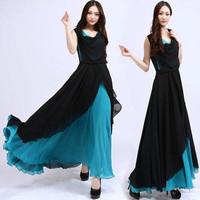 2014 patchwork chiffon one-piece dress female sleeveless slim bohemia full dress beach dress