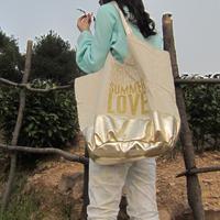 Free shipping!Make each choice count Fashion Portable Women bronzing canvas beach Totes bag casual shoulder bags Gold  Handbags
