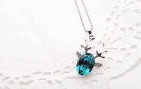 Elegent Design Shiny Luxury Deer Horn Oval Crystal Necklace Imitation Diamond Necklace Pendant JA5341