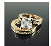 Ring 18K yellow Gold GP use Crystals sz7 R04