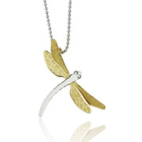High quality long dragonfly necklace pendants 316L stainless steel gold plated female jewelry
