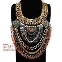 Rock Boho Layered Chains Bib Statement Necklaces Women Evening Dress Party Jewelry Choker African Costume Jewelry