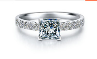 The princess temperament of micro squarering set with square  ring female sterling silver