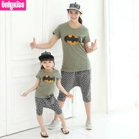 FreeShipping new 2014 baby kids clothing sets brand batman cartoon cotton t-shirt+harem pants Family Pack,for mom,girl,boy,dad