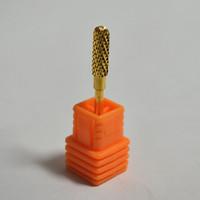 Cylindrical Round Head Nail Art Machine Carbide Nail Drill Bits Gold Sanding Electric File Original Nail Drill Tools Metal NA090