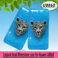 Leopard head rhinestone Case for Huawei U8860,Crystal Diamond Hard Back Skin Mobile phone Case, Free shipping