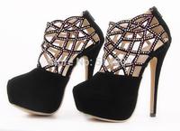 Free shipping  2014 fashion luxury diamond stunning heels women shoes