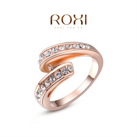 ROXI 2014 High quality Simple Rose Gold plated Rings Fashion Jewelry Best Gift For Woman For Party Wedding Free shipping