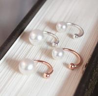 New Arrivacl Classic Round Ear Bones Clip Women's Stud Pearl Earrings Girls Friends Gift R-093