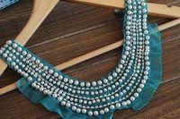 Blue green yarn warfactory beading luxury diamond laciness epaulette corsage diy clothes accessories