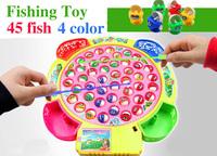 Child large rotary music toy fishing set Large parent-child 45 fish drawer Free Shipping