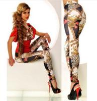 Women Leggings Print Legging Pants Hot Sale Punk 2014 New Fashion Milk Chain Printed Legging Sexy Pant Plus Size Pants KD-032