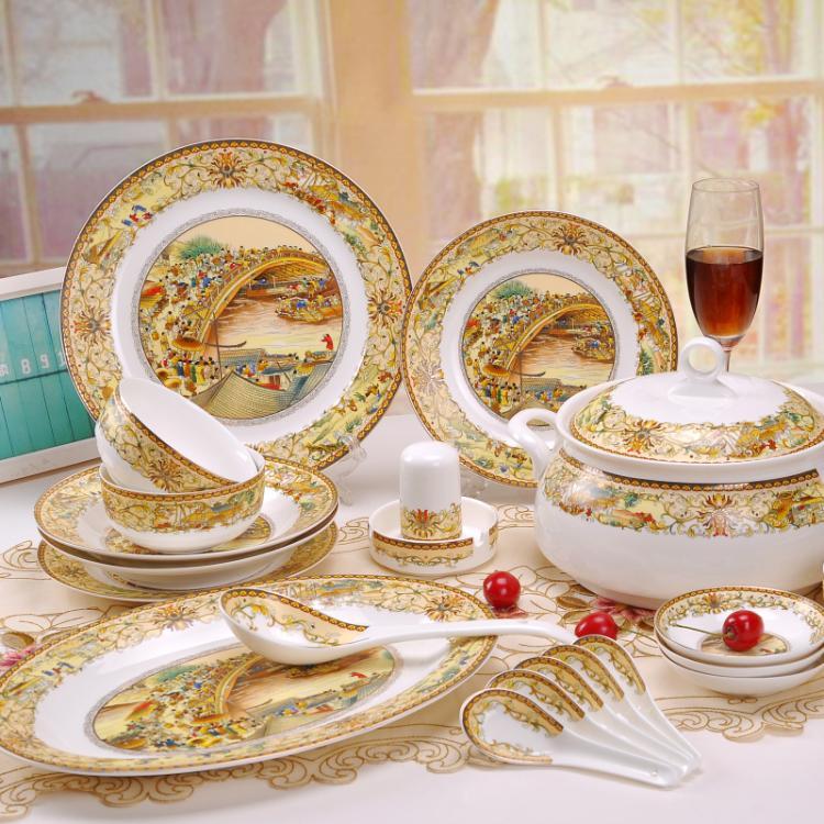 Jingdezhen ceramic dinnerware set 56 bone china tableware glaze chinese style dishes set(China (Mainland))