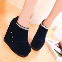 free shipping 2014 autumn fashion platform rhinestone women's wedges shoes round toe fashion high-heeled shoes  12cm single