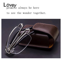 Lovey new fashion quality portable folding reading glasses with lether case men anti fatigue presbyopic reader gift for parents