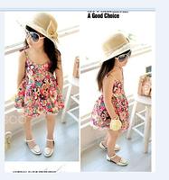 Summer  flower sleeveless performance  princess girl dance dress