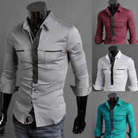 Free shipping false men's long sleeve shirt tie design high quality pure cotton shirts 4 color size M - XXL